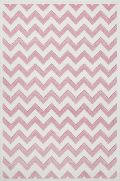 Przepiękny dywan dziecięcy w biało-różowe zygzaki nada niepowtarzalnego charakteru każdemu pokoikowi dziecięcemu.