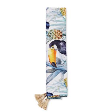 Otulacz bambusowy z tukanami. Sprawdzi się idealnie jako kocyk do łóżeczka, otulacz na plaży, a nawet prześcieradło.