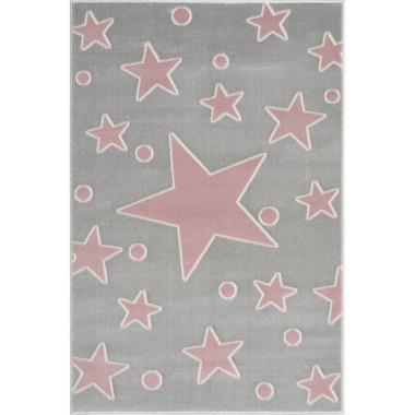 Szarym dywan z różowymi gwiazdkami Do pokoju dziecka