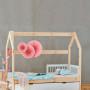 Łóżko dla dziecka-domek z kominem-drewniany