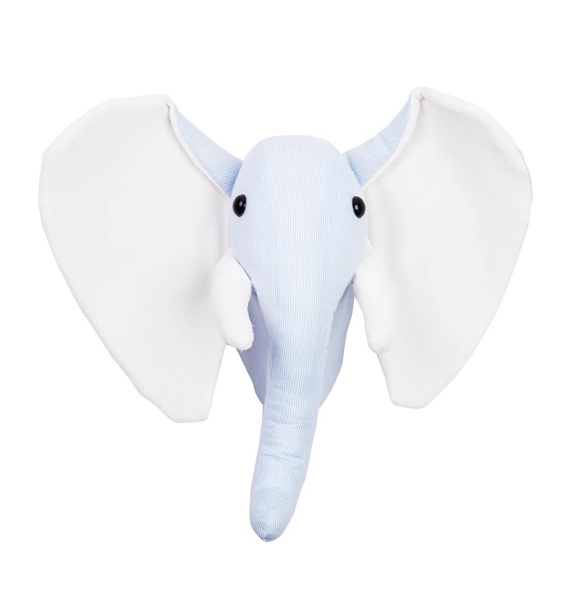 Niebieski słoń-głowa słonia na ścianę do pokoju dziecka