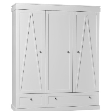 Biała szafa 3-drzwiowa do pokoju dziecka z systemem cichego zamykania wysokiej jakości