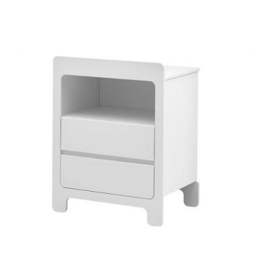 Biała mała komoda z 2 szufladami i półką. MDF.
