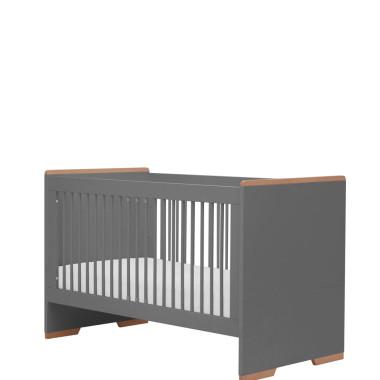 Szare łóżeczko dla dziecka z wyjmowanymi szczebelkami i regulacją poziomów.