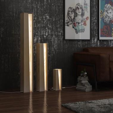 Lampa dekoracyjna podłogowa z padkiem Led, drewniana stojąca lampa
