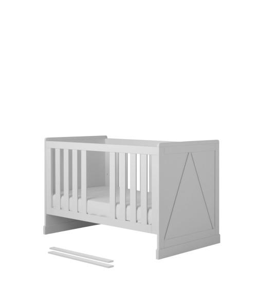 Białe łóżeczko/tapczanik dziecięcy z wyjmowanymi szczebelkami
