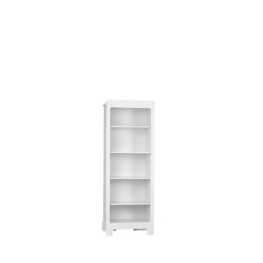 Regał z kolekcji Moon wyposażony jest w cztery półki. Wykonany jest z płyty komórkowej i płyty MDF . Biały