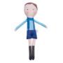 Miękka, materiałowa szmaciana maskotka przytulanka w niebieskim ubranku