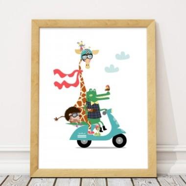 Plakat z żyrafą na skuterze-plakat do pokoju dziecka