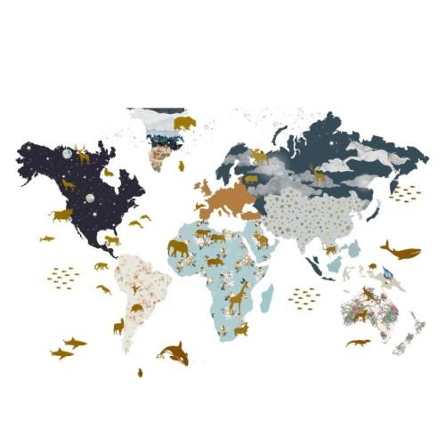 Naklejka ścienna do pokoju dziecka-Mapa świata