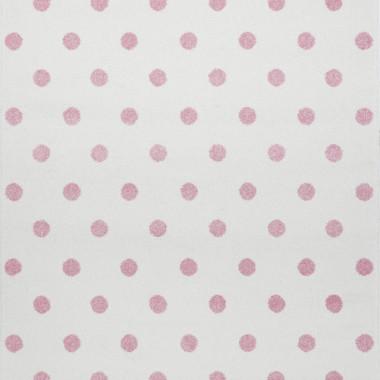 Przepiękny kremowy dywan dziecięcy w różowe kropki nada niepowtarzalnego charakteru każdemu pokoikowi dziecięcemu.