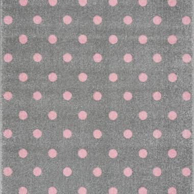 Przepiękny szary dywan dziecięcy w różowe kropeczki nada niepowtarzalnego charakteru każdemu pokoikowi dziecięcemu.