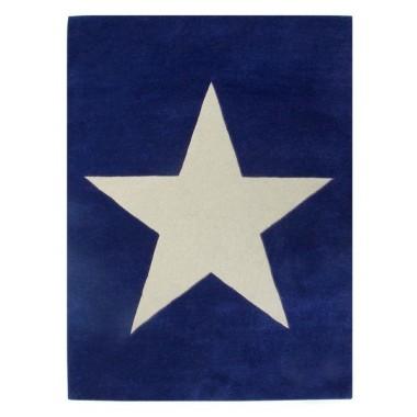 Granatowy dywan na podłogę do pokoju dziecka/nastolatka z dużą jasną gwiazdą.