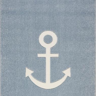 Dywan niebieski do pokoju chłopca/dziewczynki w stylu marynarskim. Niebieski z białą kotwicą.