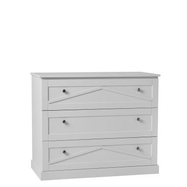 Biała komoda z 3 szufladami do pokoju dziecięcego-Pinio Marie
