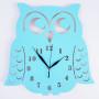 Zegar ścienny w stylu skandynawskim do pokoju dziecinnego. Sowa w kolorze niebieskim.