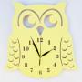 Zegar ścienny w stylu skandynawskim do pokoju dziecinnego. Sowa w kolorze żółtym.