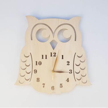 Zegar do pokoju dziecka-drewniana sowa