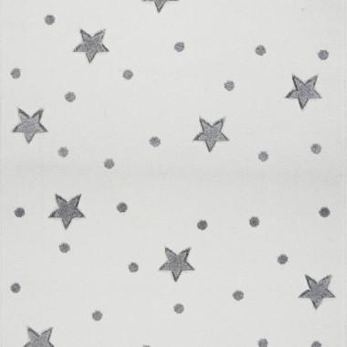 Przepiękny kremowy dywan dziecięcy w szare gwiazdki i kropki nada niepowtarzalnego charakteru każdemu pokoikowi dziecięcemu.
