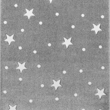 Przepiękny szary dywan dziecięcy w białe gwiazdki i kropki nada niepowtarzalnego charakteru każdemu pokoikowi dziecięcemu.