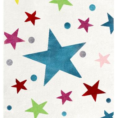 Przepiekny KREMOWY dywan dziecięcy W KOLOROWE GWIAZDKI nada niepowtarzalnego charakteryu każdemu pokoikowi dziecięcemu.