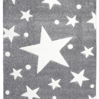 Przepiękny SZARY dywan dziecięcy W BIAŁE GWIAZDKI nada niepowtarzalnego charakteru każdemu pokoikowi dziecięcemu.
