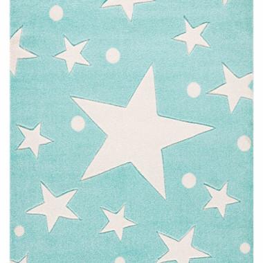 Przepiękny MIĘTOWY dywan dziecięcy W BIAŁE GWIAZDKI nada niepowtarzalnego charakteru każdemu pokoikowi dziecięcemu.