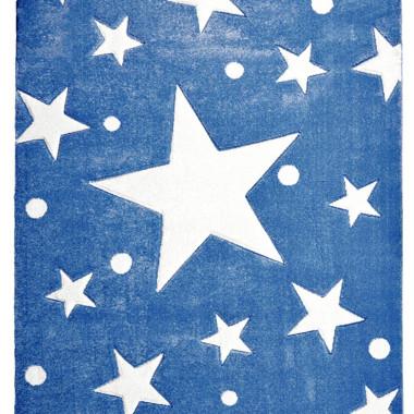 Przepiękny GRANATOWY dywan dziecięcy W BIAŁE GWIAZDKI nada niepowtarzalnego charakteru każdemu pokoikowi dziecięcemu.