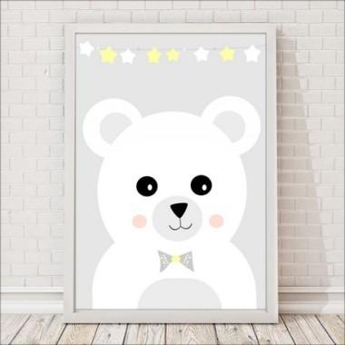 Miś z żółtymi gwiazdkami - plakat do pokoju dziecięcego