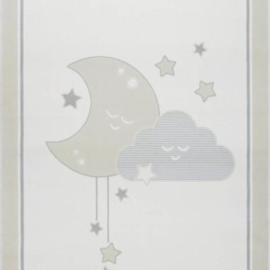 Przepiękny dywan dziecięcy w pastelowych kolorach-księżyc,, chmurka i gwiazdki-niebiesko- szary