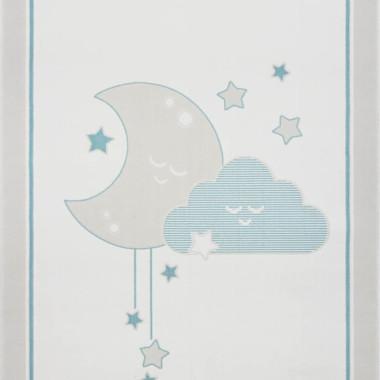 Przepiękny dywan dziecięcy w pastelowych kolorach-księżyc,, chmurka i gwiazdki-miętowo szary