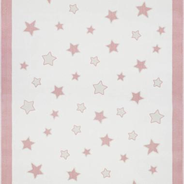 Przepiękny dywan dziecięcy w gwiazdki w pastelowych kolorach- różowy