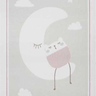 Przepiękny dywan dziecięcy w pastelowych kolorach z księżycem-różowo-szary