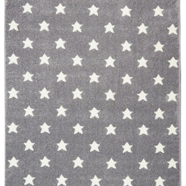 Przepiękny szary dywan dziecięcy w białe gwiazdki i nada niepowtarzalnego charakteru każdemu pokoikowi dziecięcemu.