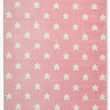 Różowy dywan w białe gwiazdki do pokoju dziecka-ciepły, miękki