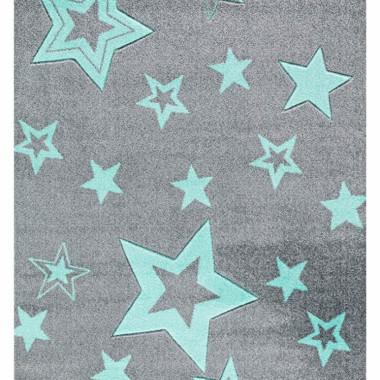 Szary dywan dla dzieci STARLIGHT w miętowe gwiazdy-zapewnia nowoczesne akcenty w pokoju zabaw dla dzieci.