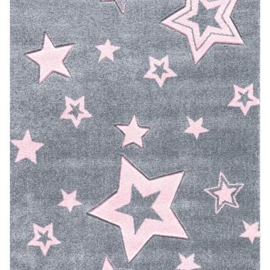 Szary dywan dla dzieci STARLIGHT w różowe gwiazdy-zapewnia nowoczesne akcenty w pokoju zabaw dla dzieci.