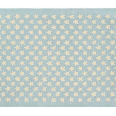 Wełniany niebieski dywan w beżowe gwiazdki-pasuje do pokoju dziecięcego