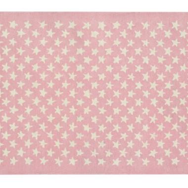 Wełniany różowy dywan w beżowe gwiazdki-pasuje do pokoju dziecięcego