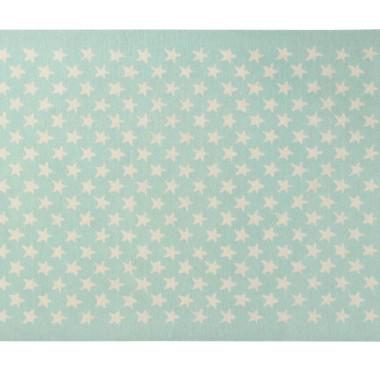 Wełniany zielony/miętowy dywan w beżowe gwiazdki-pasuje do pokoju dziecięcego