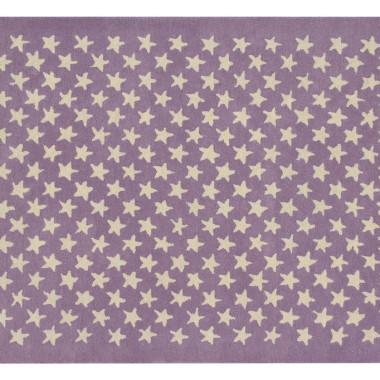 Wełniany fioletowy dywan w beżowe gwiazdki-pasuje do pokoju dziecięcego