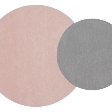 Wełniany dywan z 2 kółek-szaro-różowy