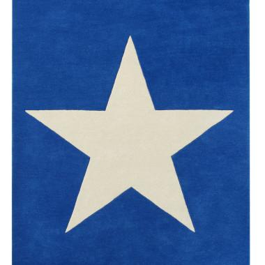 Ciemnoniebieski/granatowy dywan na podłogę do pokoju dziecka/nastolatka z dużą jasną gwiazdą.