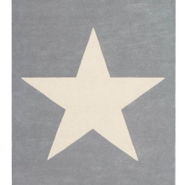 Szary wełniany dywan na podłogę do pokoju dziecka/nastolatka z dużą jasną gwiazdą.