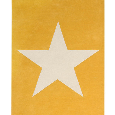Żółty wełniany dywan na podłogę do pokoju dziecka/nastolatka z dużą jasną gwiazdą.