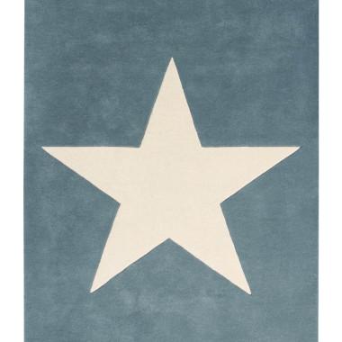 Niebieski wełniany dywan na podłogę do pokoju dziecka/nastolatka z dużą jasną gwiazdą.