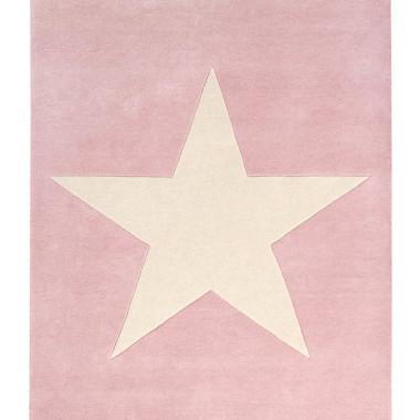 Różowy wełniany dywan na podłogę do pokoju dziecka/nastolatka z dużą jasną gwiazdą.