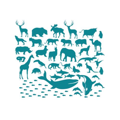 Morskie/turkusowe naklejki-zwierzaki świata