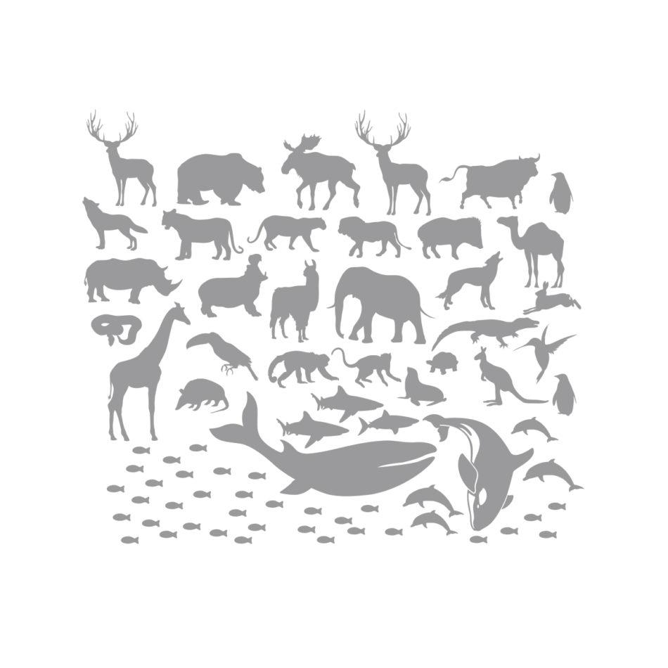 Szare naklejki-zwierzaki świata