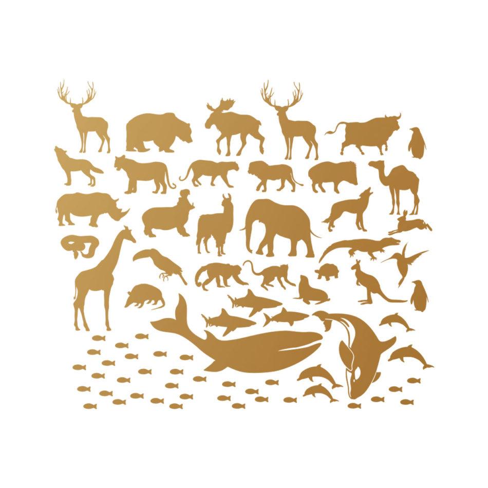 Złote naklejki-zwierzaki świata